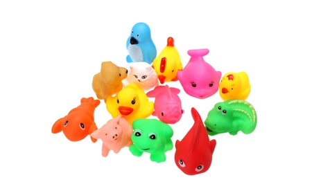 12pcs Baby Bath Duck Toys Colorful Rubber Squeaky Animal Toys Gift 08260989-df2c-4152-9493-25a78cd98026
