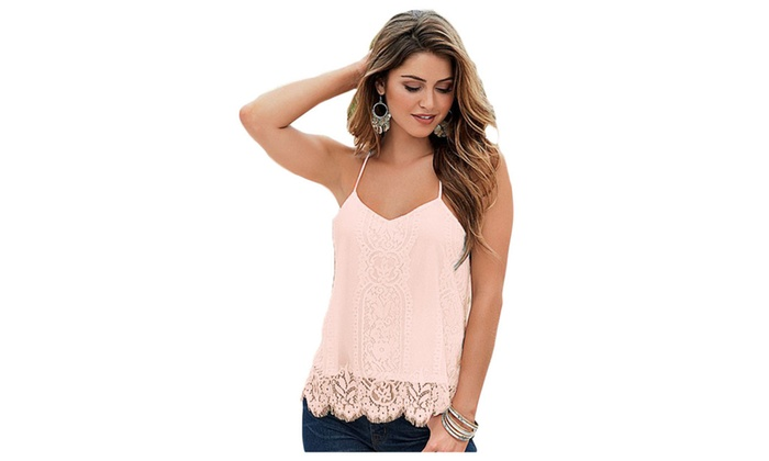 Women's Pink Scalloped Lace Tank Top