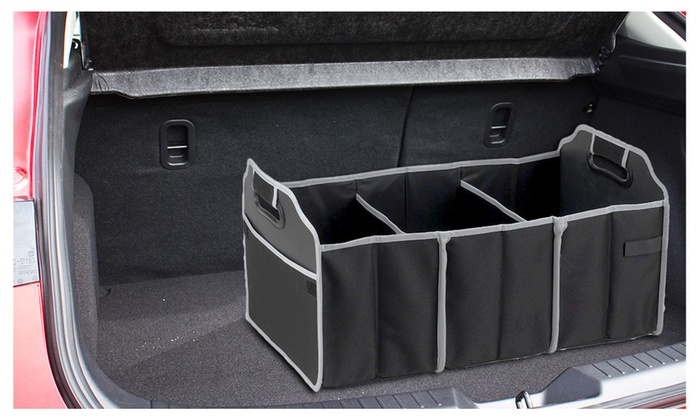 Superior Car Trunk Organizer, Black, 3 Large Sections Of Storage