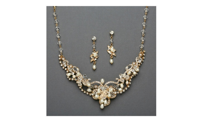 c66c91fff Ivory Freshwater Pearl & Crystal Gold Wedding Necklace and Earrings ...