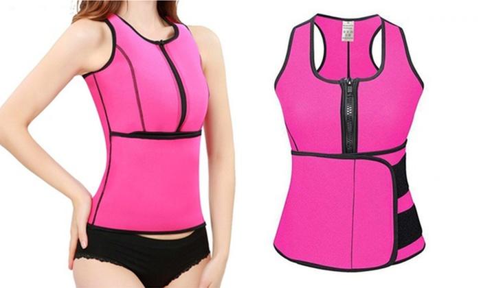 c36dc2a070 Hot Sweat Sauna Vest Body Shaper Waist Trainer with Sliming Belt Corset  Tank Top 2XL Pink