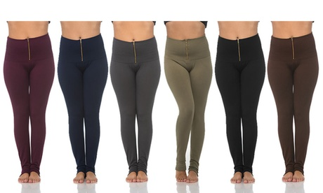 6-Pack: Ladies Zippered High Waist Fleece Lined Leggings f433b1c2-a1b6-46c3-aada-c5eaa9f047b5