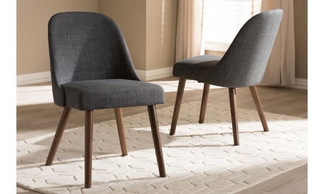 Cody Fabric Upholstered Walnut Wood 2-piece Dining Chair Set