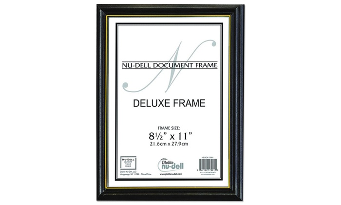 NuDell Deluxe Wood Document Frame, Plastic Face, 8-1/2 x 11, Black ...