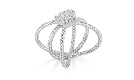 1/4cttw Diamond Pave X Ring in Sterling Silver 675ce9f2-8cd5-409b-b64e-56de25626507