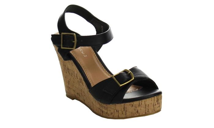 Beston EA51 Women's Buckle Ankle Strap Platform Wedge Sandals