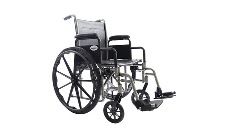 "24""Folding Lightweight PVC Leather Disabled Elderly People Wheelchairs - Black 069f5fed-cd41-49df-882b-d59cb70e2916"