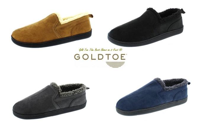 Gold Toe Mens Sherpa Lined Slipper Shoes W/Memory Foam