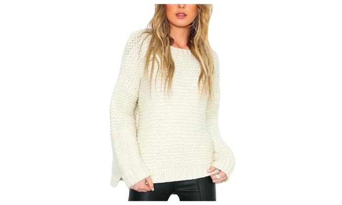 Women's Simple Regular Fit Casual Solid Pullovers Sweater