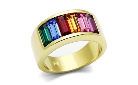 Women's Stainless Steel 14k Gold Ion Plated Baguette Rainbow Ring b46bbf0e-ad34-4e13-b82f-9f5c40932765