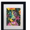 Dean Russo 'Smiling Collie' Matted Black Framed Art