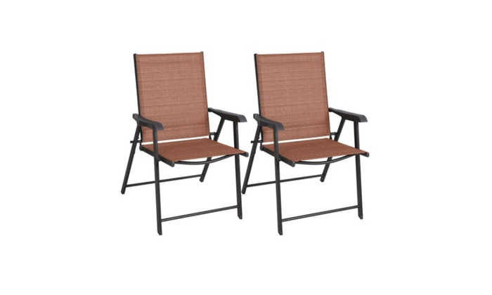 Set Of 2 Patio Folding Sling Chairs Furniture Camping Deck Garden Pool