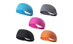 Unisex Sports Fitness Headband and Sweatband (5-Pack)