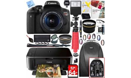 Canon EOS Rebel T6i DSLR Camera, Lens, and Printer Bundle