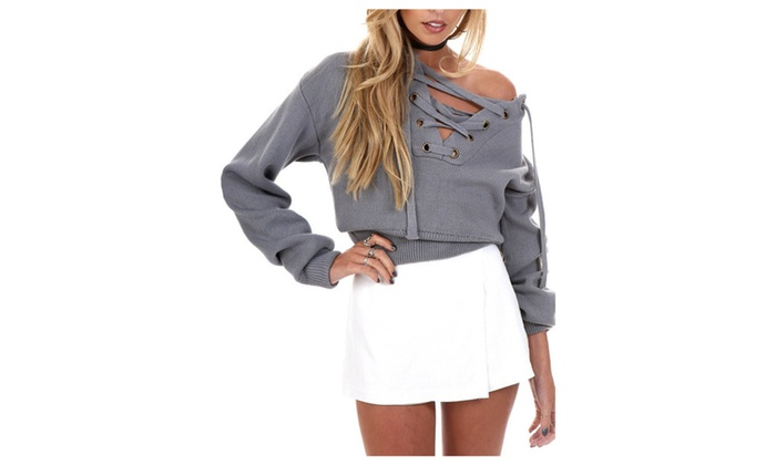 Women's Drop Shoulder Ribbed Lace Up Knit Crop Sweater
