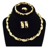 African Beads Crystal Earring Bracelet Necklace Ring Jewelry Sets