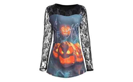 Women Tops Halloween Costume Pumpkin Design T-shirt Blouse