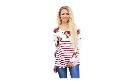 Women's Floral Striped Babydoll Tunic 1b7eb3ea-90f5-4e04-8529-8aa3da246d02