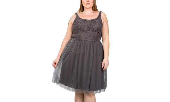 Ladies fashion Grey Color plus size lace top midi dress with tulle skirt
