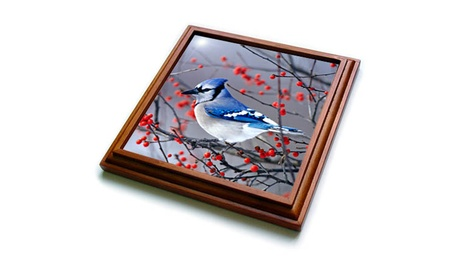 Trivet with TileBlue Jay in Winterberry Bush in winter Marion County Illinois photo