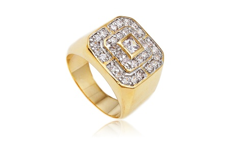 Men's Goldtone Cz Layered Squares Ring Sizes 7-17 eec93bf4-c86e-4543-8c63-d67be92a12b8