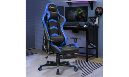 Costway Massage Gaming Chair Reclining Racing Chair w/Lumbar Support &Footrest