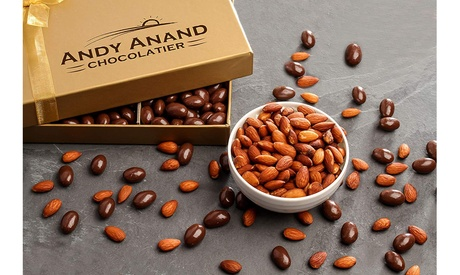 Andy Anand Premium Vegan Dark Chocolate coated Roasted Almonds Gift Boxed 1lbs