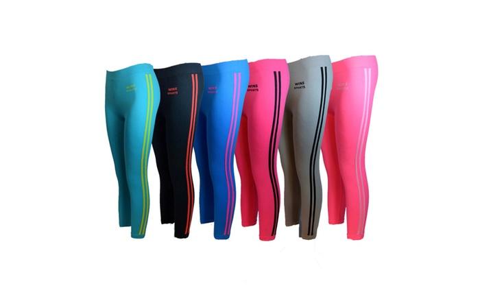 Women 6 Pack Seamless Double Stripes Sports Yoga Full Length Leggings