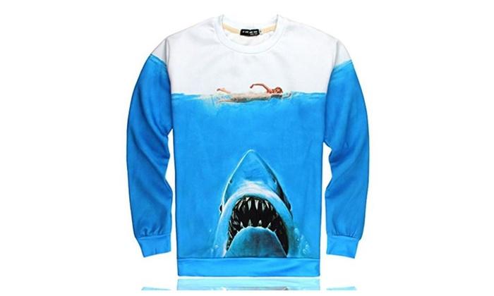 Better Vie Unisex Long Sleeves Shirt Hoodie Frozen Shark 3D Printed