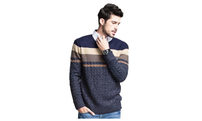 Men's Colorblock Crew Neck Long Sleeve Pullover Sweater