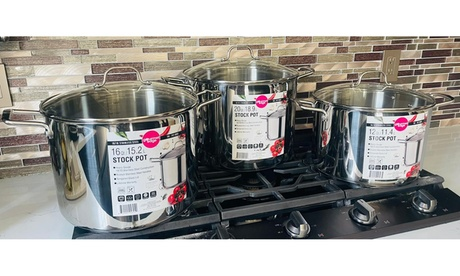 Gourmet Edge 18/10 Stainless Steel Stock Pot and Lid - Dishwasher and Oven Safe