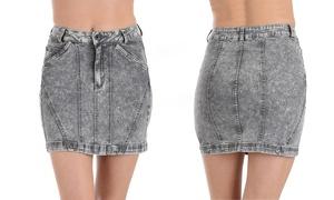 Lyss Loo Washed Denim Mini Skirt