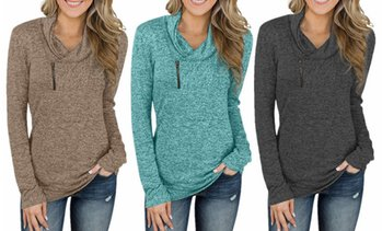 Women Long Sleeve V-Neck Size Zipper Collar Pullover Tunic Tops