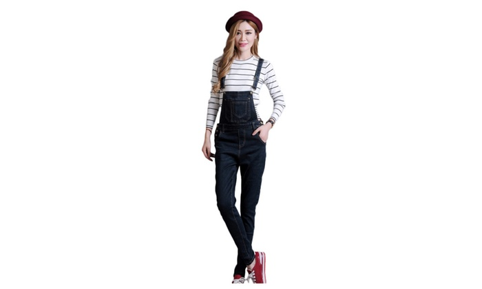 Women's Cotton Stretch Jumpsuits Overall Suspenders Jeans