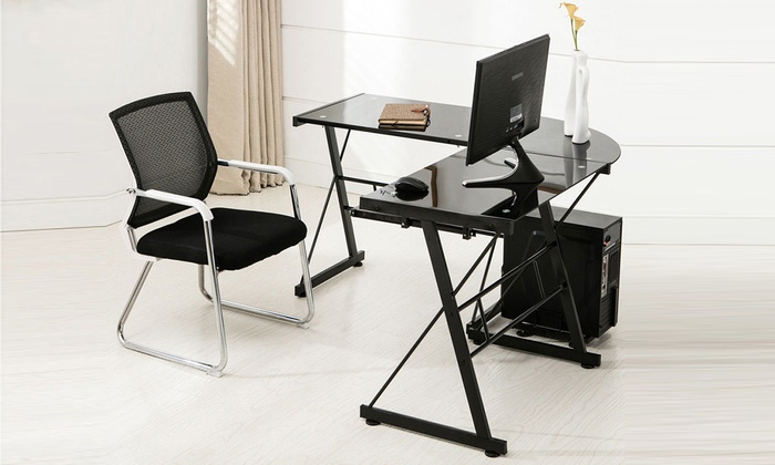 Office Writing Furniture L Shaped Glass PC Table Computer ...