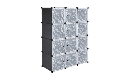 12-Cube Shelves with Doors, Modular Bookshelf Units, Clothes Storage Shelves