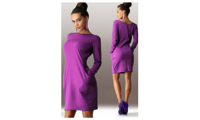 Women Solid Round Neck Doulbe Pockets Bodycon Dress - KMWD386-KMWD385