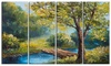 Summer Forest with Beautiful River Metal Wall Art 48x28 4 Panels