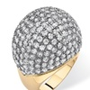 5 TCW Round Cubic Zirconia Pave 14k Yellow Gold-Plated Dome Ring