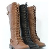 Women Fashion Knee High Cool Military Combat Riding Boots Lace Up