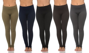 Women's Textured Fleece-Lined Leggings (6-Pack)