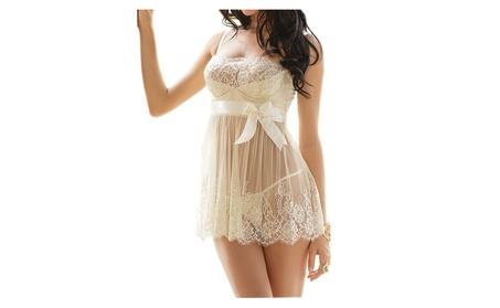 Women's Bridal Lingerie Set, Ivory White Babydoll Ribbon, G-String cc575765-6bec-4d04-af64-ae420e6c8b15