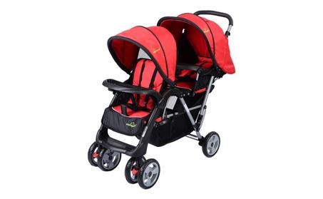 Foldable Twin Baby Double Stroller Kids Jogger Travel Infant Pushchai 3e10df23-0c3c-4ee4-8504-09ce563bdec0