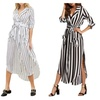 Notch Lapel 3/4 Sleeve Striped Dress with Belt and Pocket