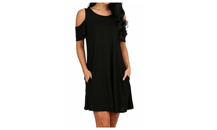 Women's Cold Shoulder Tunic Top T-shirt Swing Dress With Pockets