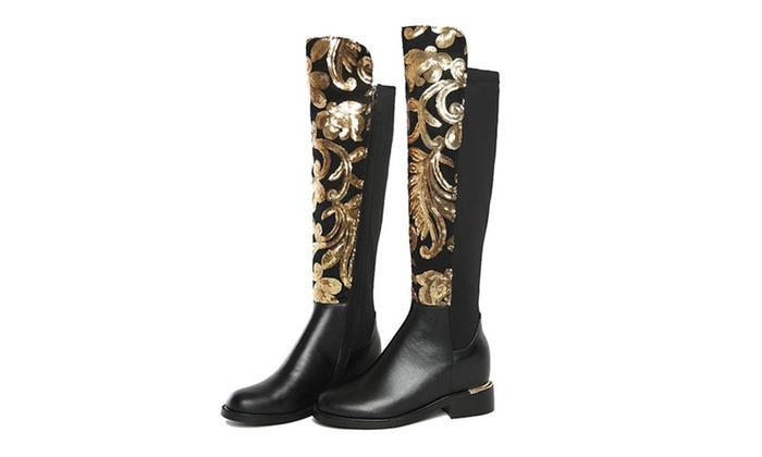 New Thick Heel Glitter Knee-High Fashion Boots-Women