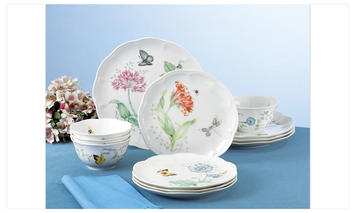 Lenox Butterfly Meadow 12-PC Dinnerware Set Service for 4  sc 1 st  Groupon : lenox dinnerware canada - pezcame.com