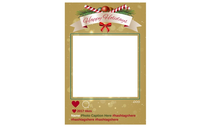 Happy Holidays Christmas Social Media Selfie Frame Photo Booth Prop