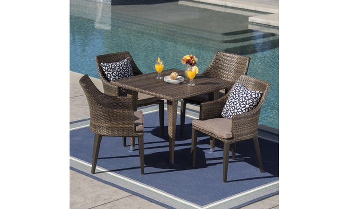 Pacific Outdoor Wicker Dining Set with Square Table (5-Piece) ... - Pacific Outdoor Wicker Dining Set With Square Table (5-Piece) Groupon