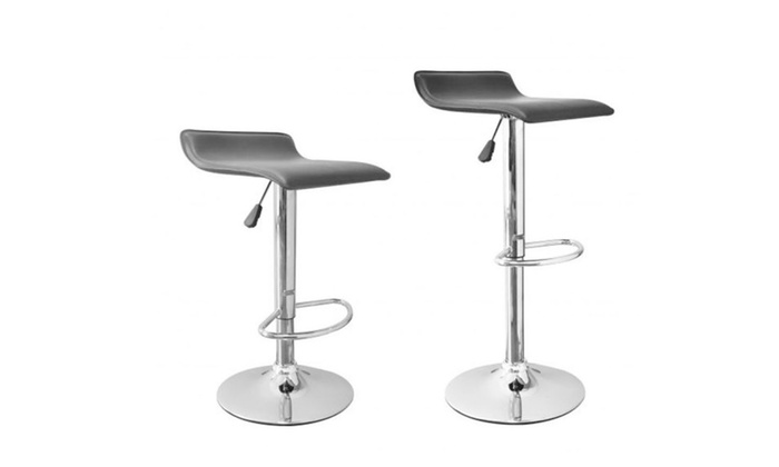 Surprising 2 Pcs Black Adjustable Synthetic Leather Swivel Bar Stools Chairs B08 Lamtechconsult Wood Chair Design Ideas Lamtechconsultcom